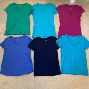 Lot 6 V-Neck Shirt Top Green Pink Purple Teal Turquoise Navy Blue Merona Mossimo